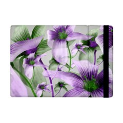 Lilies Collage Art in Green and Violet Colors Apple iPad Mini 2 Flip Case