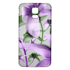Lilies Collage Art in Green and Violet Colors Samsung Galaxy S5 Back Case (White)