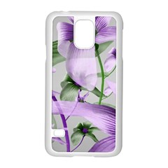 Lilies Collage Art In Green And Violet Colors Samsung Galaxy S5 Case (white)