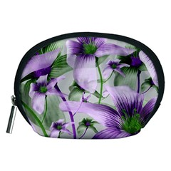 Lilies Collage Art in Green and Violet Colors Accessory Pouch (Medium)