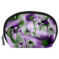 Lilies Collage Art in Green and Violet Colors Accessory Pouch (Large)