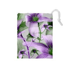 Lilies Collage Art in Green and Violet Colors Drawstring Pouch (Medium)