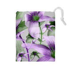 Lilies Collage Art in Green and Violet Colors Drawstring Pouch (Large)