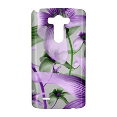 Lilies Collage Art in Green and Violet Colors LG G3 Hardshell Case