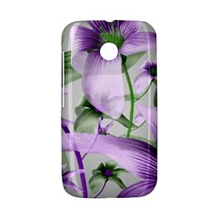 Lilies Collage Art in Green and Violet Colors Motorola Moto E Hardshell Case