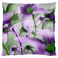 Lilies Collage Art in Green and Violet Colors Large Flano Cushion Case (Two Sides)
