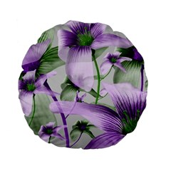Lilies Collage Art In Green And Violet Colors 15  Premium Flano Round Cushion