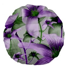 Lilies Collage Art in Green and Violet Colors 18  Premium Flano Round Cushion