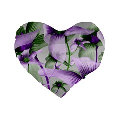 Lilies Collage Art In Green And Violet Colors 16  Premium Flano Heart Shape Cushion