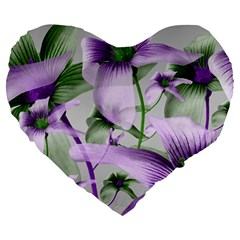 Lilies Collage Art in Green and Violet Colors 19  Premium Flano Heart Shape Cushion