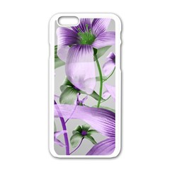 Lilies Collage Art in Green and Violet Colors Apple iPhone 6 White Enamel Case