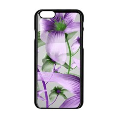 Lilies Collage Art in Green and Violet Colors Apple iPhone 6 Black Enamel Case