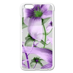Lilies Collage Art In Green And Violet Colors Apple Iphone 6 Plus Enamel White Case