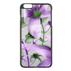 Lilies Collage Art in Green and Violet Colors Apple iPhone 6 Plus Black Enamel Case