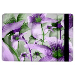 Lilies Collage Art in Green and Violet Colors Apple iPad Air 2 Flip Case