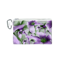 Lilies Collage Art In Green And Violet Colors Canvas Cosmetic Bag (small)