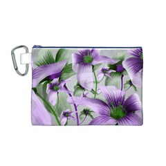 Lilies Collage Art in Green and Violet Colors Canvas Cosmetic Bag (Medium)