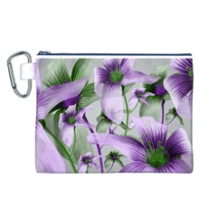 Lilies Collage Art in Green and Violet Colors Canvas Cosmetic Bag (Large)