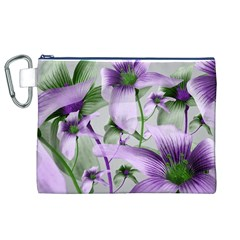 Lilies Collage Art in Green and Violet Colors Canvas Cosmetic Bag (XL)