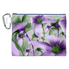 Lilies Collage Art In Green And Violet Colors Canvas Cosmetic Bag (xxl)