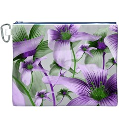 Lilies Collage Art In Green And Violet Colors Canvas Cosmetic Bag (xxxl)