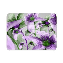 Lilies Collage Art In Green And Violet Colors Double Sided Flano Blanket (mini)
