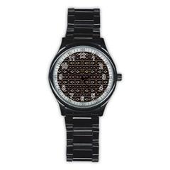 Tribal Dark Geometric Pattern03 Sport Metal Watch (black)