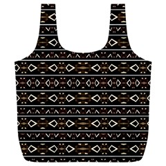 Tribal Dark Geometric Pattern03 Reusable Bag (XL)