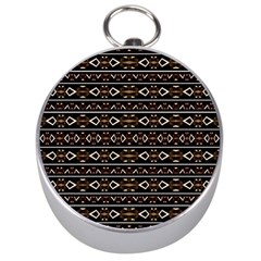 Tribal Dark Geometric Pattern03 Silver Compass