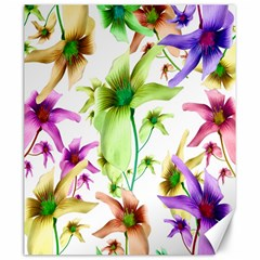 Multicolored Floral Print Pattern Canvas 20  x 24  (Unframed)