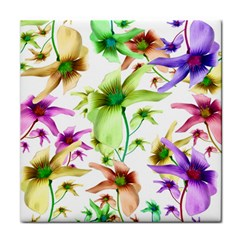 Multicolored Floral Print Pattern Face Towel
