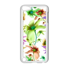 Multicolored Floral Print Pattern Apple iPod Touch 5 Case (White)