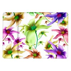 Multicolored Floral Print Pattern Samsung Galaxy Tab 10.1  P7500 Flip Case