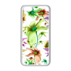 Multicolored Floral Print Pattern Apple iPhone 5C Seamless Case (White)