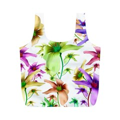 Multicolored Floral Print Pattern Reusable Bag (M)