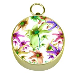 Multicolored Floral Print Pattern Gold Compass
