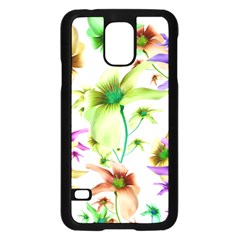 Multicolored Floral Print Pattern Samsung Galaxy S5 Case (Black)