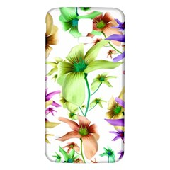 Multicolored Floral Print Pattern Samsung Galaxy S5 Back Case (White)