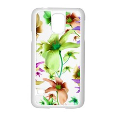 Multicolored Floral Print Pattern Samsung Galaxy S5 Case (White)