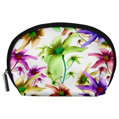 Multicolored Floral Print Pattern Accessory Pouch (Large)