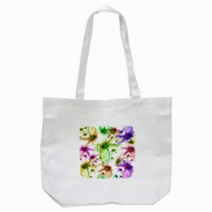 Multicolored Floral Print Pattern Tote Bag (white)