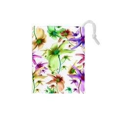 Multicolored Floral Print Pattern Drawstring Pouch (Small)