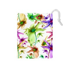 Multicolored Floral Print Pattern Drawstring Pouch (Medium)