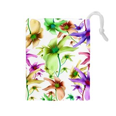 Multicolored Floral Print Pattern Drawstring Pouch (Large)