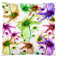Multicolored Floral Print Pattern Standard Flano Cushion Case (Two Sides)