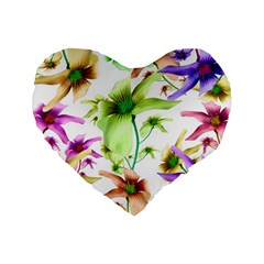 Multicolored Floral Print Pattern 16  Premium Flano Heart Shape Cushion