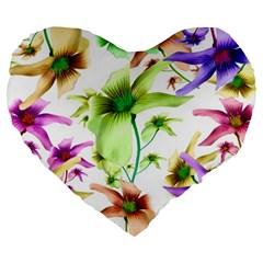 Multicolored Floral Print Pattern 19  Premium Flano Heart Shape Cushion