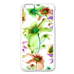 Multicolored Floral Print Pattern Apple iPhone 6 Plus Enamel White Case