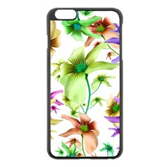 Multicolored Floral Print Pattern Apple Iphone 6 Plus Black Enamel Case