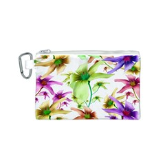 Multicolored Floral Print Pattern Canvas Cosmetic Bag (Small)